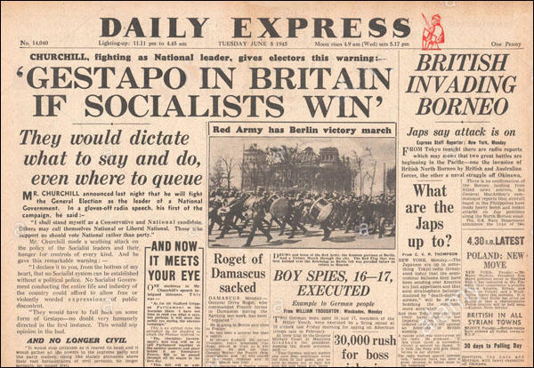 Image result for daily express front page 1945 general election