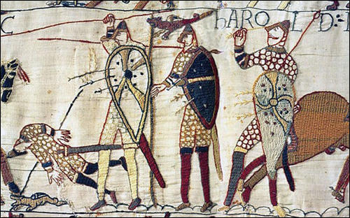 Section 23: Harold swears fealty to William of Normandy, Bayeux Tapestry (c. 1090)
