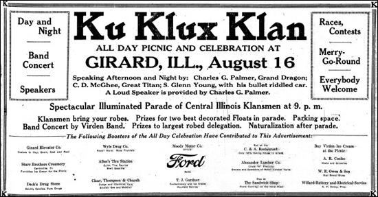 (Source 12) KKK advertisement in the Illinois State Journal (15th August, 1924)