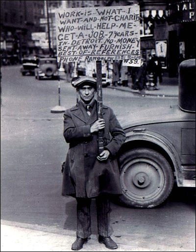(Source 1) Photograph of unemployed man in Detroit (c. 1930)