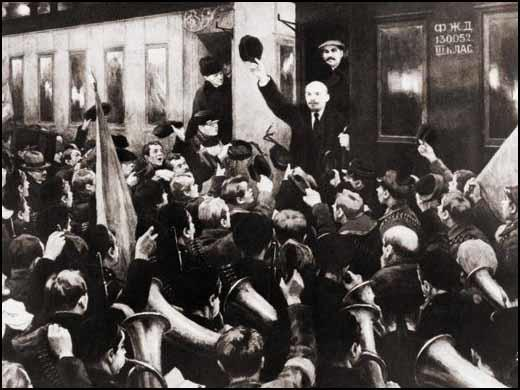 Lenin arrives at Finland Station (3rd April, 1917)