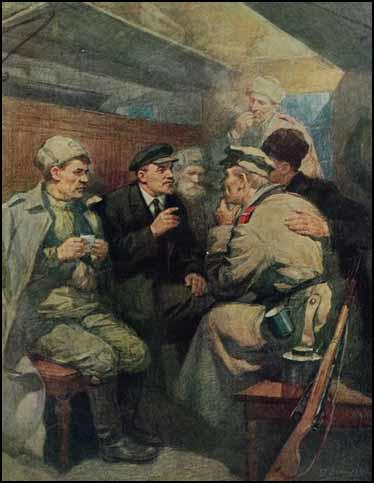 Lenin on the train to Petrograd by Pyotr Vasiliev (1949)