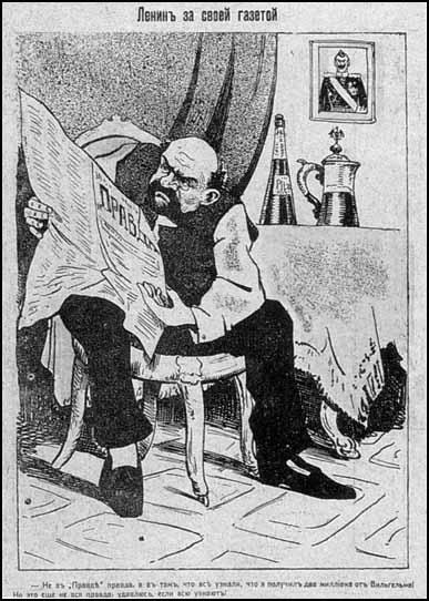 "Cartoon of Lenin in the satrical journal, Pugach. ""Lenin reading his own newspaper. The truth - not to be found in Pravda - is that I got two million from Wilhelm! But even that's not the whole truth. If they knew, I'd hang."" (April, 1917)"