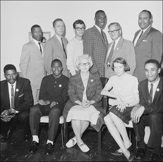 Freedom Riders before the journey that left Washington on 4th May: Top, left to right: John Lewis, James Peck, Edward Blankenheimand, Hank Thomas, Walter Bergman and James Farmer. Bottom, left to right: Benjamin Elton Cox, Charles Person, Frances Bergman, Genevieve Hughes and Jimmy McDonald.