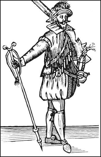 Woodcut of Musketeer