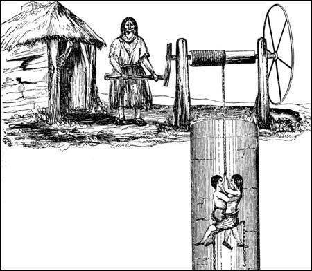 A drawing of Ann Ambler and Will Dyson being drawn up a pit shaft in Elland (1842)