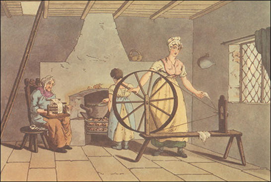 (Source 1) This painting of a spinning-wheel appeared in George Walker, The Costume of Yorkshire (1814)