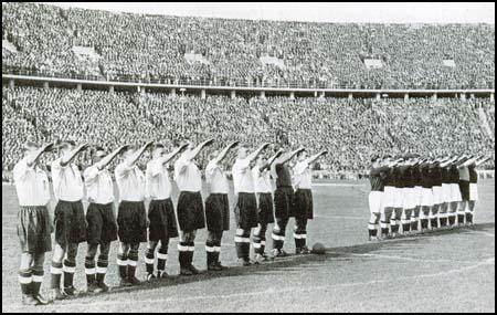 The England team give the Nazi salute in May 1938.