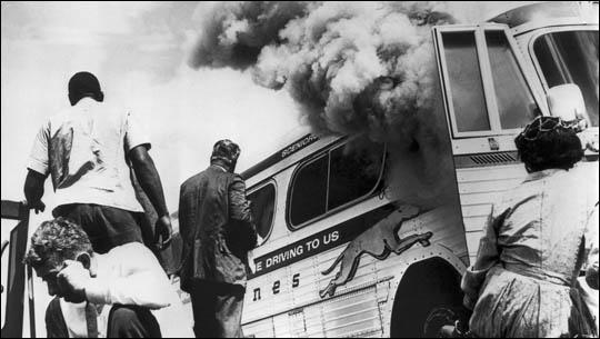 The Freedom Riders bus at Anniston (14th May, 1961)