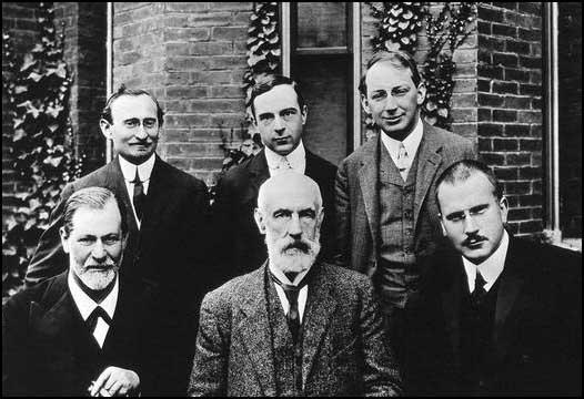 Back row, left to right: Abraham Brill, Ernest Jones and Sandor Ferenczi. Front row, Sigmund Freud, Granville Stanley Hall and Carl Jung (September 1909)