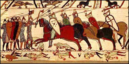 Norman Knights attack the Anglo-Saxons at the Battle of Hastings