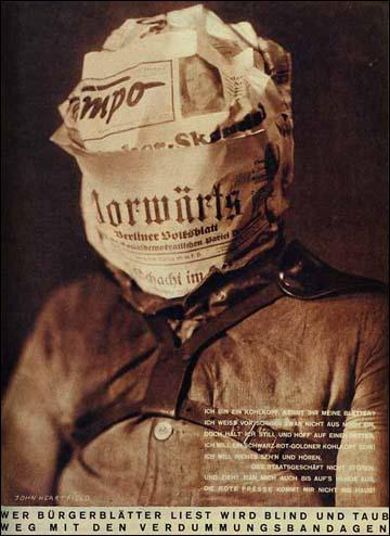 John Heartfield, Those who read capitalist newspapers will become blind and deaf, Arbeiter-Illustrierte-Zeitung (AIG) (February 1930) (Copyright The Official John Heartfield Exhibition & Archive)
