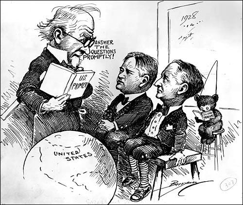 Cliff Berryman, Uncle Sam lectures Herbert Hoover and Al Smith (1928)