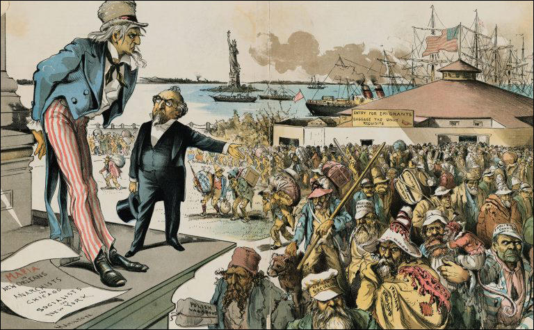 "Where The Blame Lies. Judge (to Uncle Sam) - ""If Immigration was properly Restricted you would no longer be troubled with Anarchy, Socialism, the Mafia and such kindred evils!"" (1891) ."