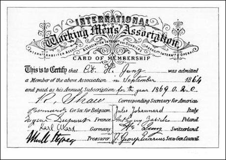 International Workingmen's Association membership card (1864)