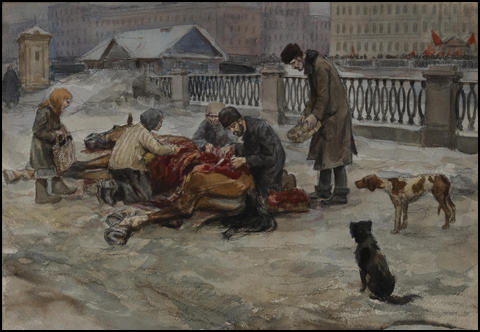 Ivan Vladimirov, Hungry ones in Petrograd dividing a dead horse in the street (1917)