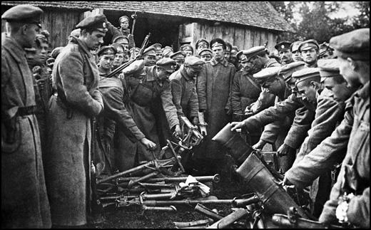 General Kornilov's army soldiers are surrendering their weapons. (1917)