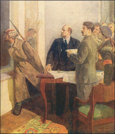 Stepan Ilich Dudnik, Lenin and Stalin hear the opening guns of the cruiser Aurora (c. 1930)