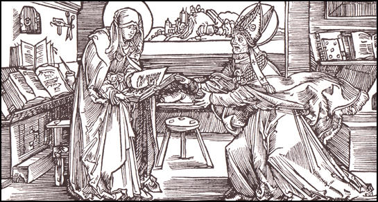 Bridget of Alvasta presenting a copy of her book Revelations to her bishop in about 1355.