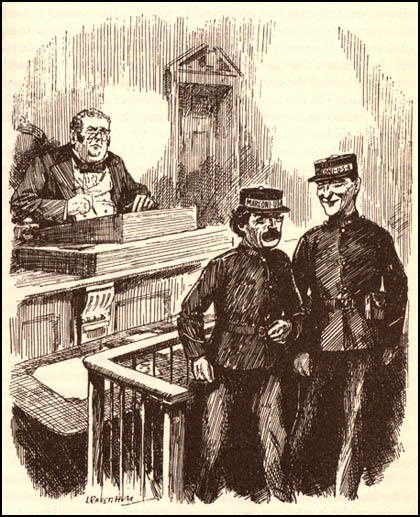 "John Bull: ""My boys, you leave the court without a stain - except for the whitewash."" Leonard Raven-Hill, Blameless Telegraphy (25th June, 1913)"