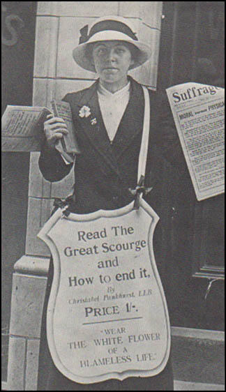 WSPU member selling The Great Scourge (1913)