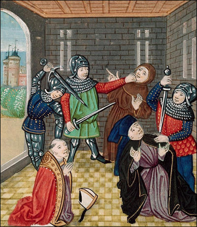 The killing of Archbishop Simon Sudbury and Robert Hales from Jean Froissart, Chronicles (c. 1395)