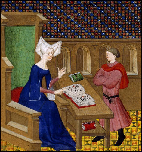 Christine de Pisan instructs her son, Jean de Castel (c. 1413)