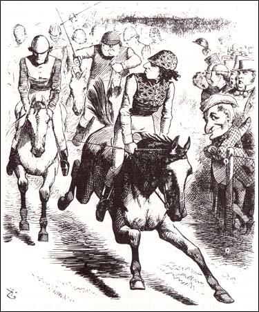 """The Derby, 1867, Dizzy wins with Reform Bill""John Tenniel, Punch Magazine (25th May, 1867)"