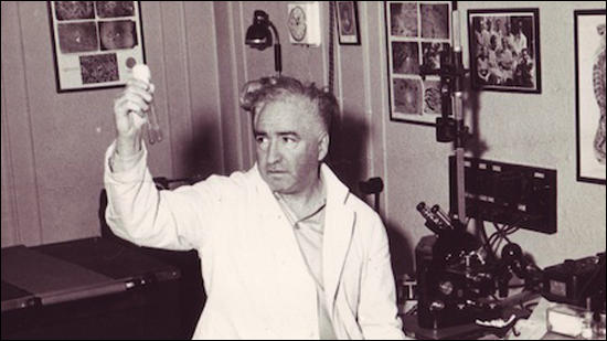 Wilhelm Reich carrying out an experiment