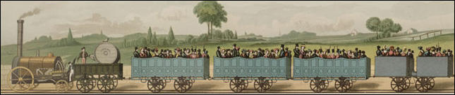 Painting of a train on the Manchester to Liverpool railway (1831)