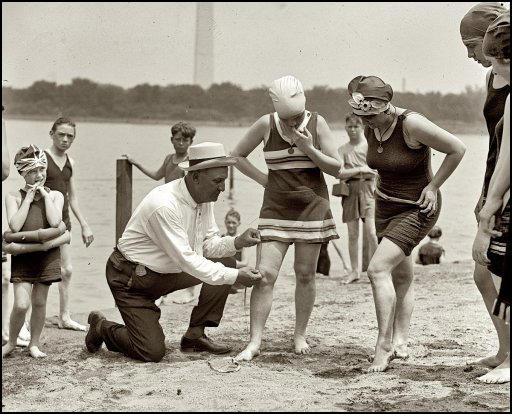 (Source 8) Bill Norton measuring the distance between knee and suit at the Tidal Basin bathing beach in Washington (30th June, 1922)