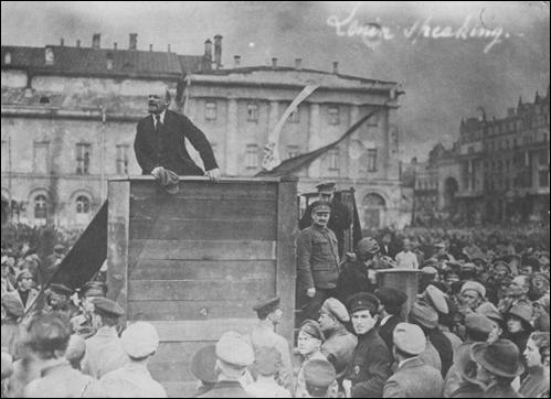Lenin speaking to a crowd in Petrograd in October, 1917.