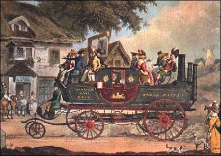 Goldsworthy Gurney's steam carriage first appeared in 1829. On its trips between London and Bath it reached an average speed of 15 m.p.h.