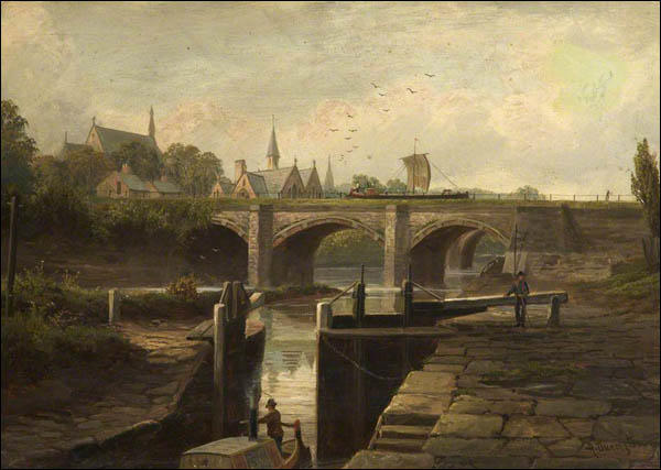 Painting of the Barton Aqueduct above the River Irwell.