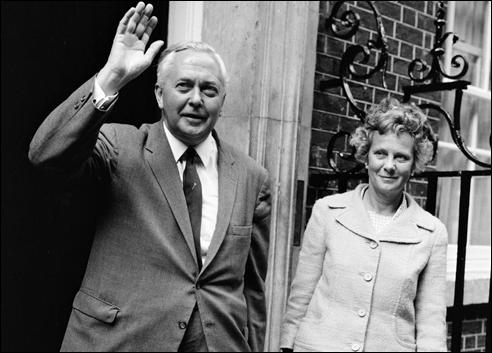 Harold Wilson and Mary Wilson outside 10 Downing Street (October, 1964)