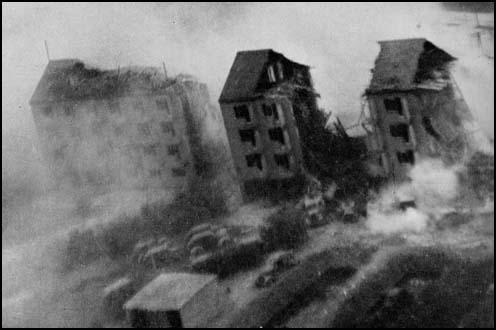 RAF photograph of the bombing of the Gestapo headquarters in Aarhus.