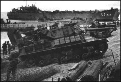A Sherman Tank being landed at Normandy in June 1944.