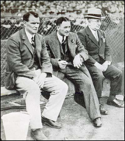 Tom Whittaker, Alex James and Herbert Chapman watching the 1932 Cup Final.