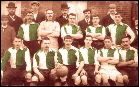 The Welsh team that played against England on 18th March, 1901. Leigh Rooseis wearing the goalkeeper's jersey. The captain, Billy Meredith is holding the ball.