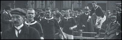 The Welsh team walking out against Ireland (March, 1906)