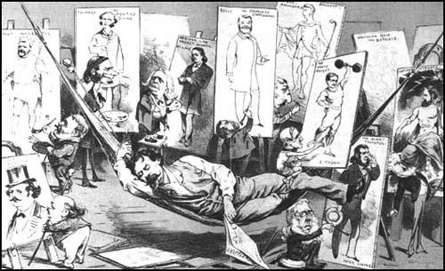 Joseph Keppler published a drawing of himself asleep while the politicians repainted his images of them (Puck, 10th August, 1884)