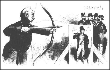 The arrow is aimed at the Social Democrats, but what if it overshoots it's target?Wilhelm Scholz, Kladderadatsch (1848)