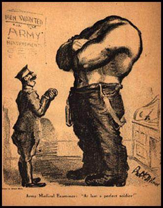 "Army Medical Examiner: ""At last a perfect soldier!"" Robert Minor, New Masses (July, 1916) A poster of this cartoon and many others from The Masses and related radical publications, is available from the Georgetown Bookshop."