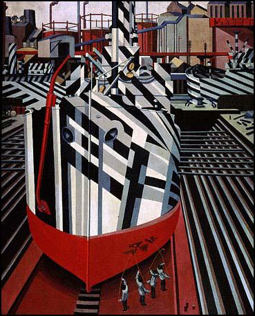 Edward Wadsworth, Dazzle-Ships in Drydock at Liverpool (1919).