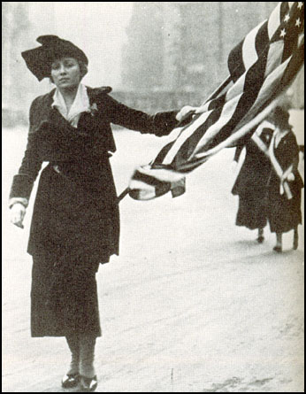 Neysa McMein marching in a suffrage parade in 1917.