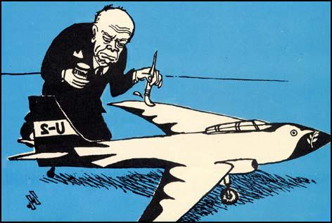 Soviet cartoon showing Dwight Eisenhower during the U2 Crisis (May, 1962)