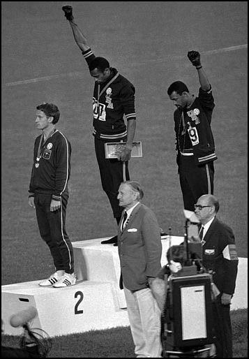 Tommie Smith and John Carlos making their protest in Mexico City