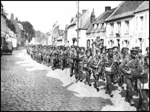 British soldiers marching to the front-line in France.