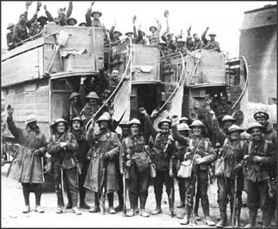 Conscripted soldiers being taken to the Western Front by Military Buses.