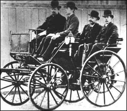 Daimler and Maybach in their first automobile.